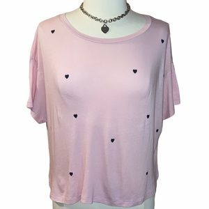 VS PINK Short Sleeve Heart Top Pudra Pink